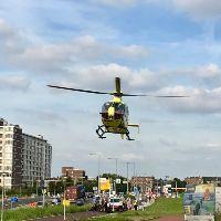 Traumahelikopter voor scooterrijder
