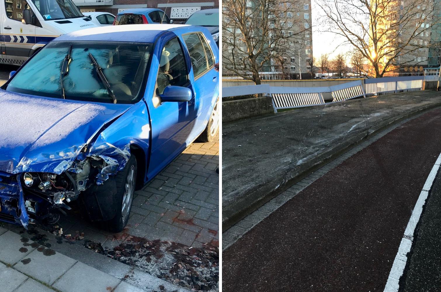Vlaardinger rijdt net gerenoveerd hek in Schiedam weer stuk