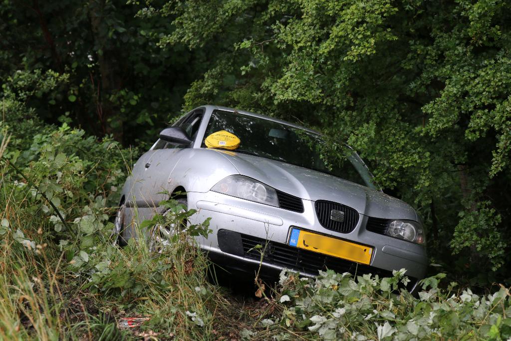 Auto rijdt berm in langs oprit A20