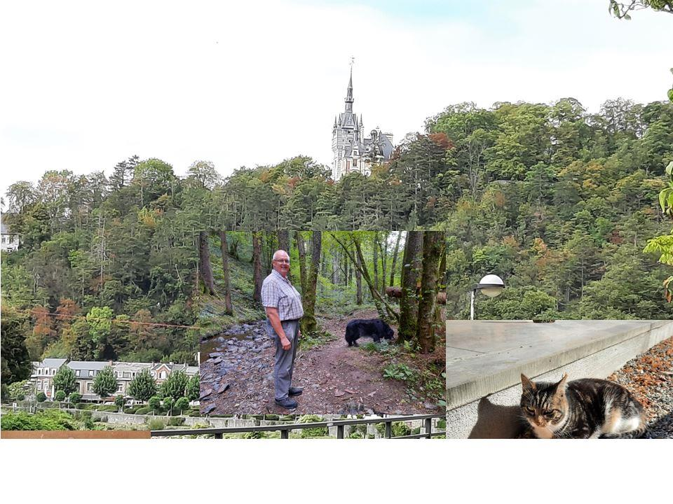 Een blote man op het terras