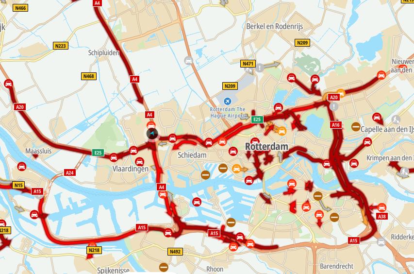 Flinke files op snelwegen rondom Vlaardingen