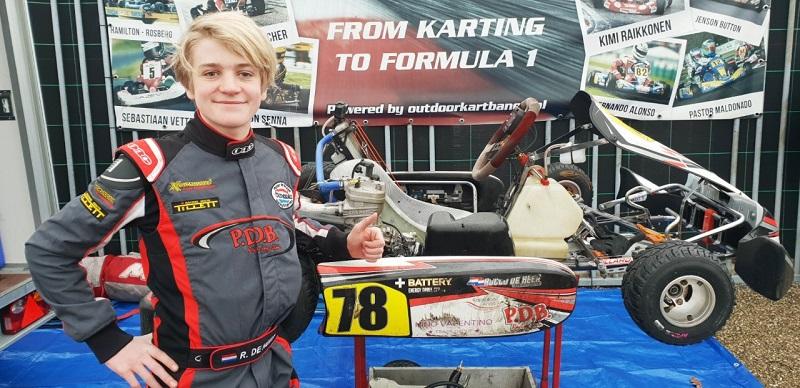 Sterke seizoenstart voor Rocco de Heer in snellere kartklasse
