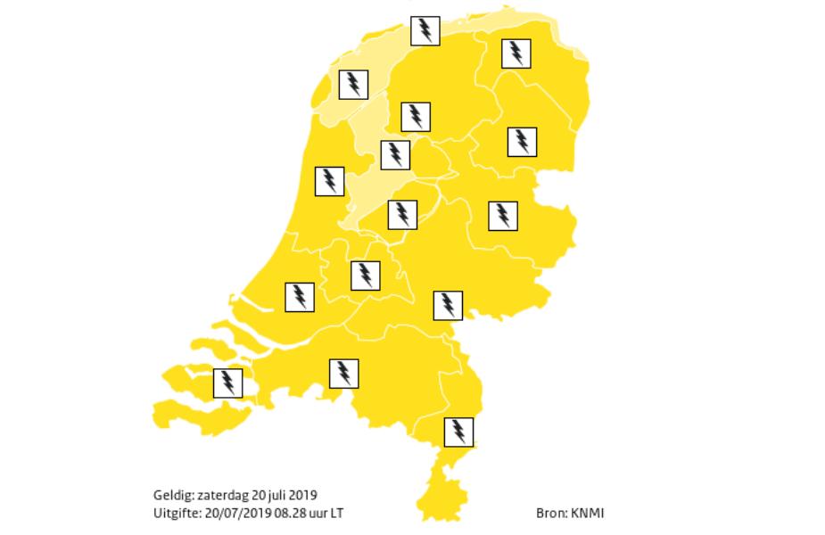 Code geel: onweersbuien op komst