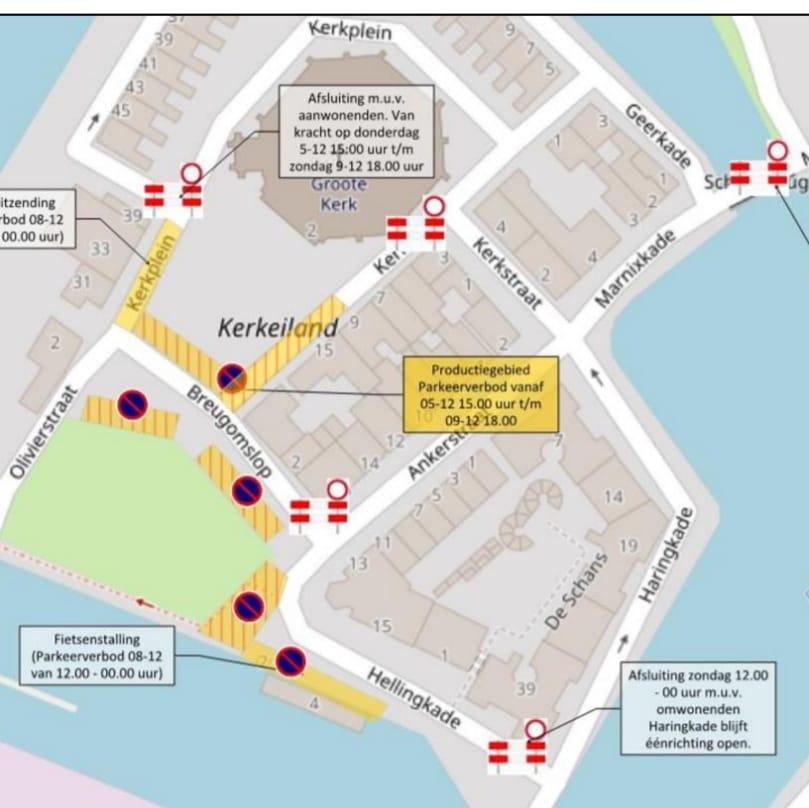 Parkeerverbod Kerkeiland voor opname Kerstfeest in de Stad