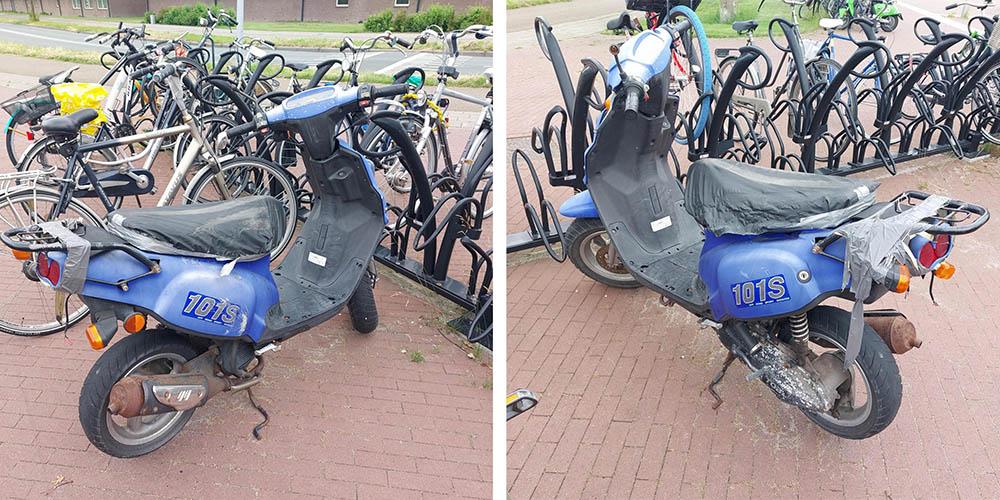 Van wie is deze verwaarloosde scooter?