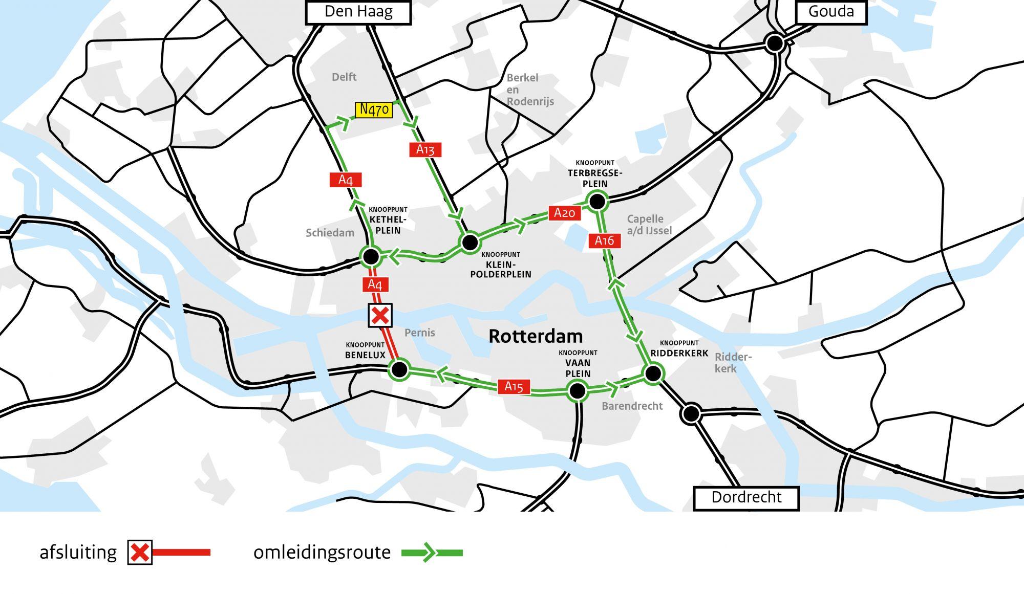 Nachtafsluiting Beneluxtunnel 29 en 30 oktober