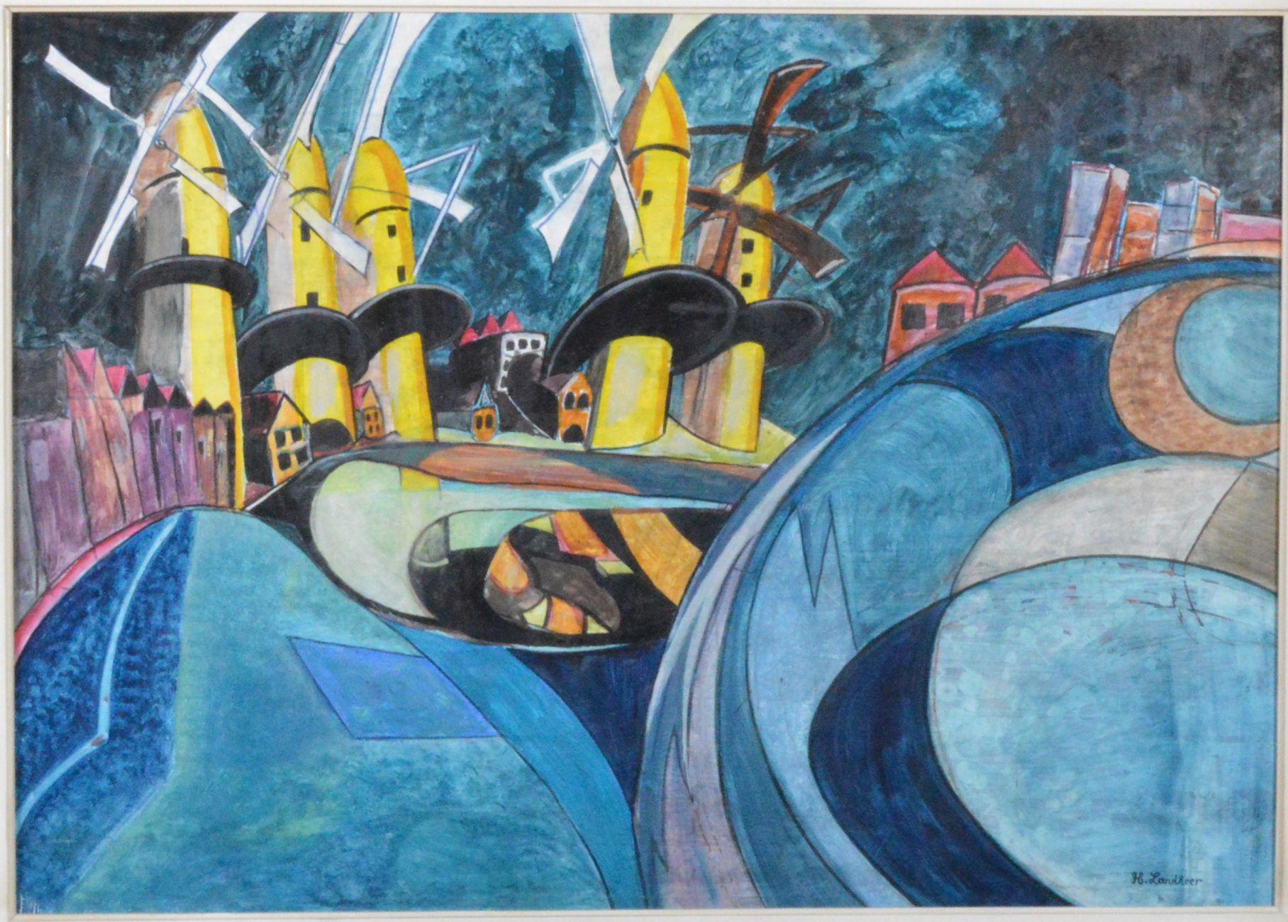 Schilderij van Hugo Landheer naar Gemeentearchief