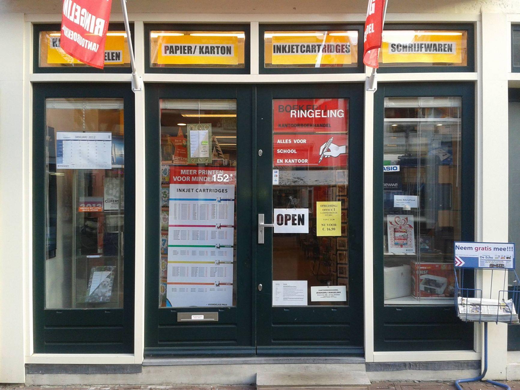 Kantoorboekhandel Ringeling over twee weken dicht