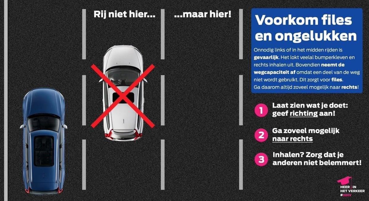 Verkeerspolitie gaat bekeuren op links rijden