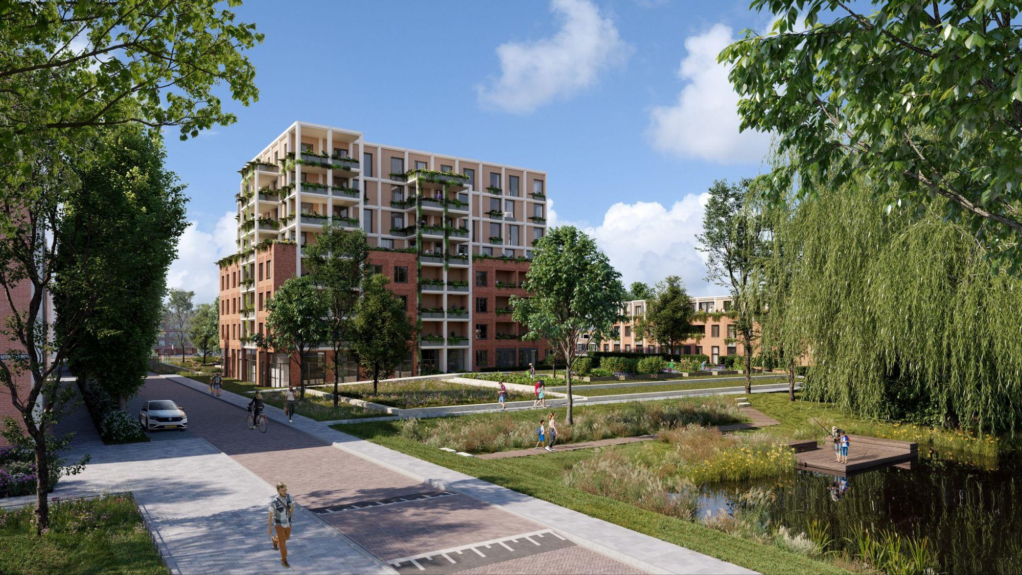 Honderddertig nieuwe woningen op groen Wibautplein