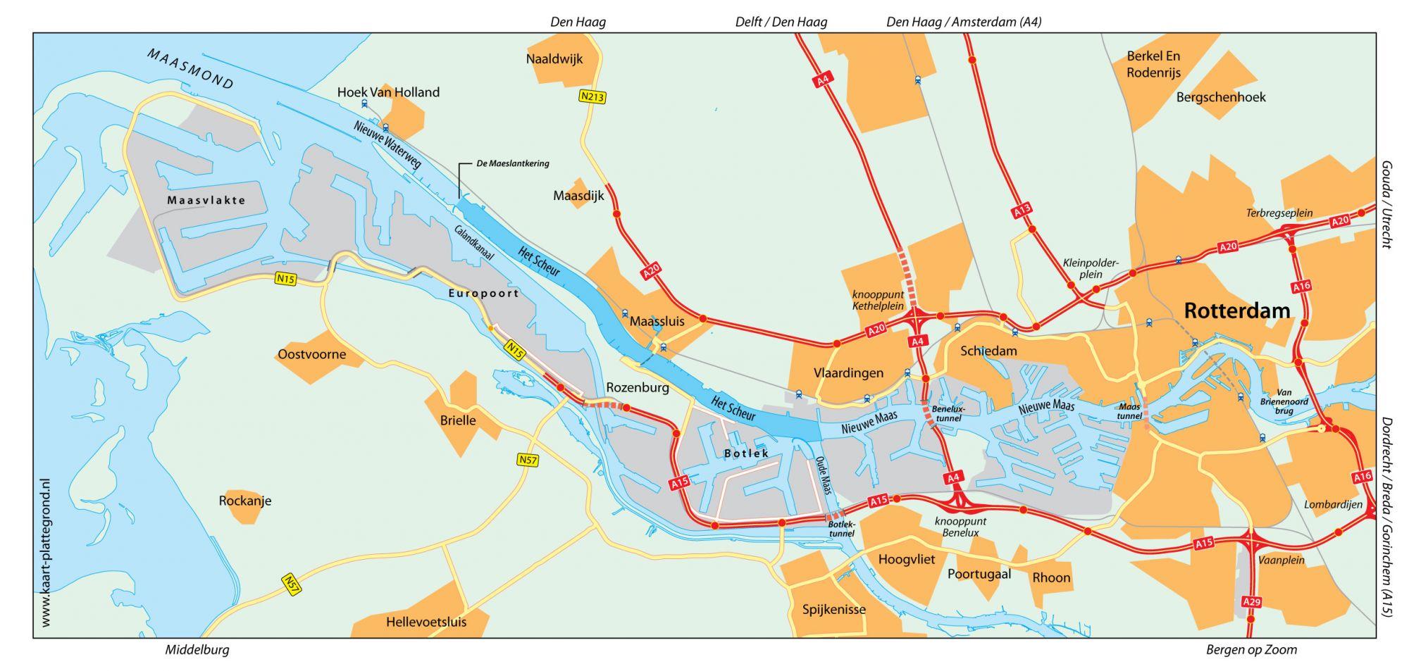 Nee.. Schiedam ligt niet aan de Nieuwe Waterweg