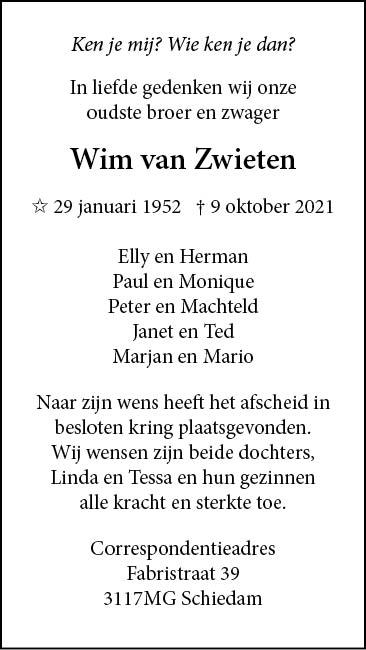 In memoriam: Wim van Zwieten