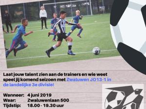 Talentenbijeenkomst bij Zwaluwen Vlaardingen JO13-1