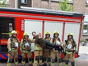 Brandweer redt juf