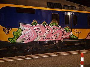 Graffiti gespoten op treinen Zutphen