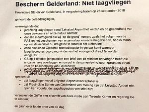 Motie tegen laagvliegen boven Gelderland aangenomen