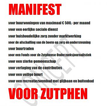 Verkiezingsperikelen: SP presenteert Zutphens manifest