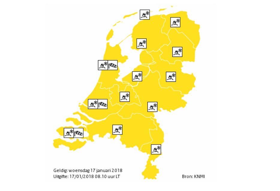Code geel: gladheid en zware windstoten